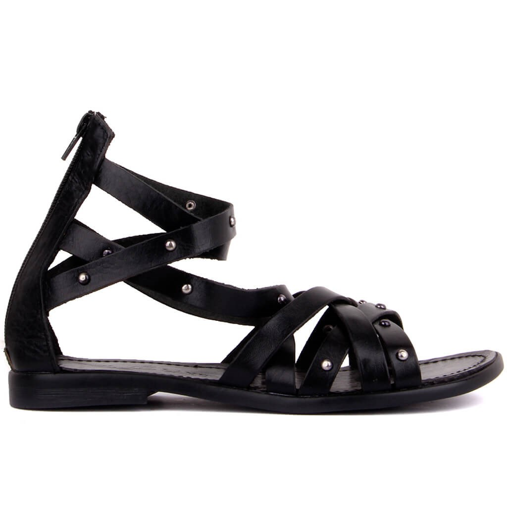 Sail-Lakers Black Leather Women 'S Sandals