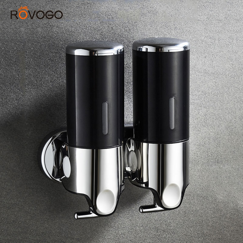 ROVOGO Manual Hand Shower Shampoo And Soap Dispenser Wall Mount, Double Pump Shower Dispenser Black/Gold/White/Transparent