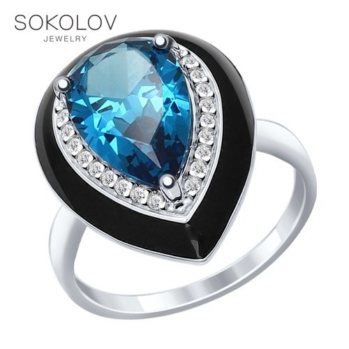 Ring. Sterling Silver With Enamel Blue ситаллом And Cubic Zirkonia Fashion Jewelry 925 Women's Male