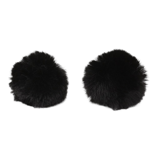 Pompon Made Of Artificial Fur (rabbit), D-6cm, 2 Pcs/pack (M Black)