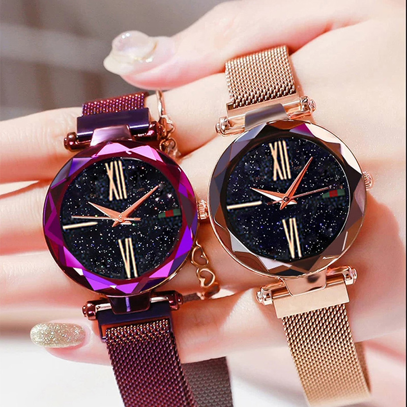 Luxury Rose Gold Women Watches Minimalism Starry sky Magnet Buckle Fashion Casual Female Wristwatch Waterproof Roman Numeral 5