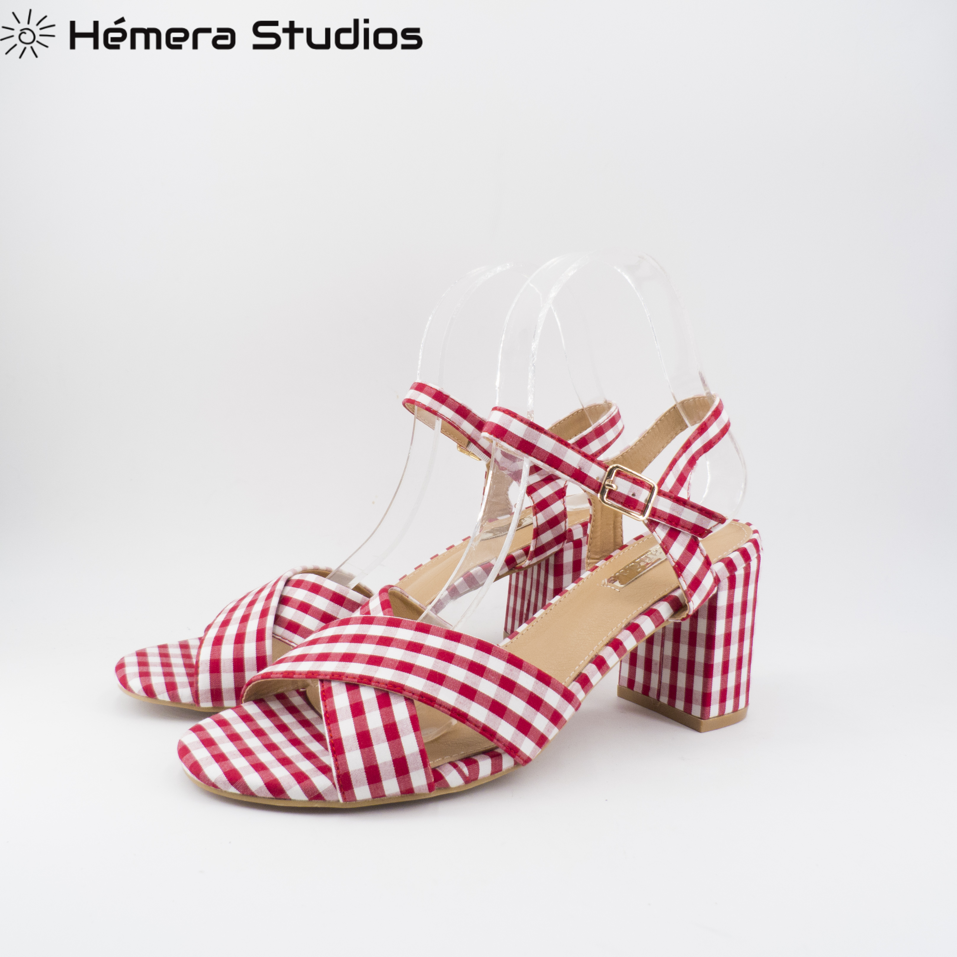 Sandals For Women Square Red With High Heel Summer Shoe High-heeled