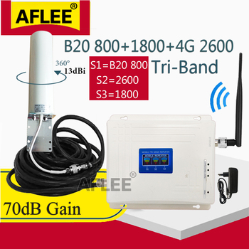 BAND20 800 1800 2100 2600 Mhz 4G Cell Phone Booster Mobile Signal Amplifier 2G 3G 4G Cellular Repeater LTE DCS 3G 4G Booster Set