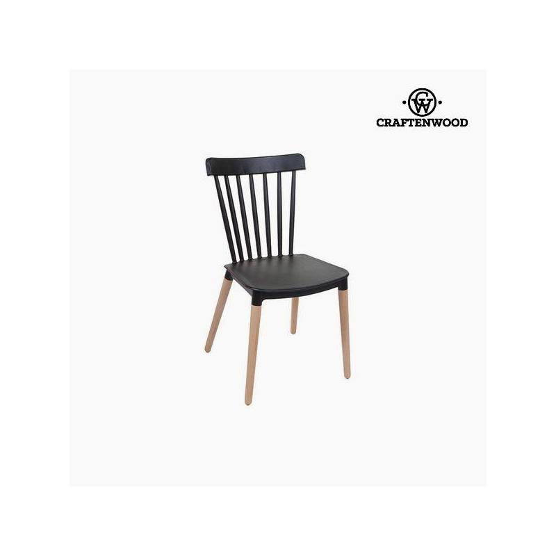 Chair Beech Wood Black (52x46x84 Cm) By Craftenwood