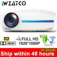 WZATCO C2 4K Volle HD 1080P LED Projektor Android 9,0 Wifi Smart Home Theater Video Proyector mit Digital keystone korrektur