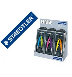 COMPAS STAEDTLER MICROMETRIC 556 WITH SPINDLE AND WHEEL CENTRAL COLOR NEON EXHIBITOR DESKTOP 9 UNITS