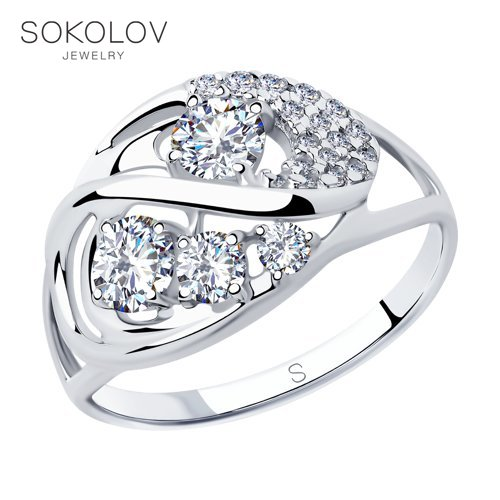 SOKOLOV Ring With Cubic Silver Fashion Jewelry 925 Women's/men's, Male/female