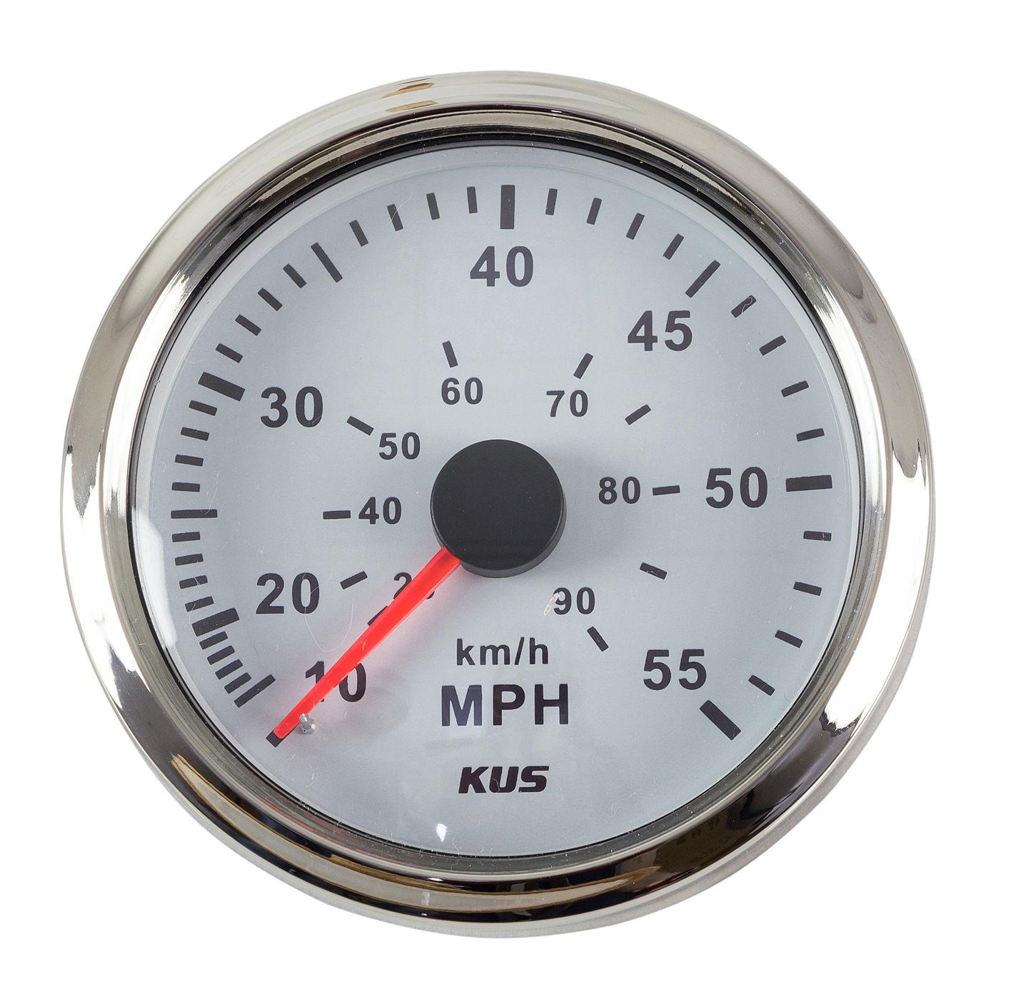 スピードメーターゲージ 0-55 MPH 、ホワイトダイヤル、ステンレス鋼。 85 ミリメートル KY18101