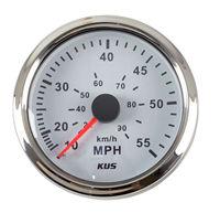 Speedometer gauge 0 55 MPH, white dial, stainless steel bezel. 85mm KY18101