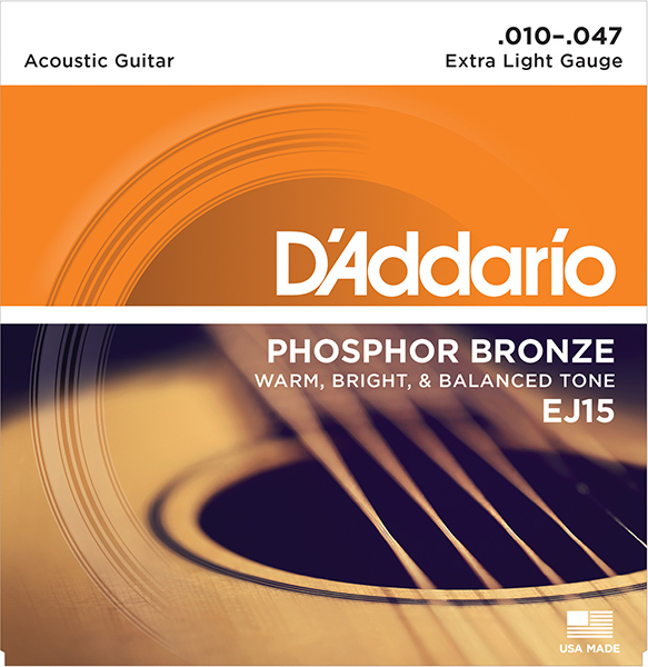 EJ15 Phosphor Bronze Strings For Acoustic Guitar Extra Light 10-47 D'Addario