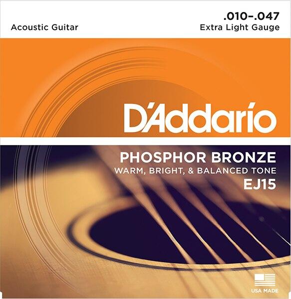 EJ15 Phosphor Bronze Strings For Acoustic Guitar Extra Light 10-47 D'Addario