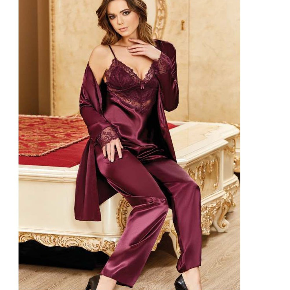 Women's Silk Seten Lace Nightgown Comfortable To Wear Horse Home Stylish 3 Piece Sizes S M L XL 5909