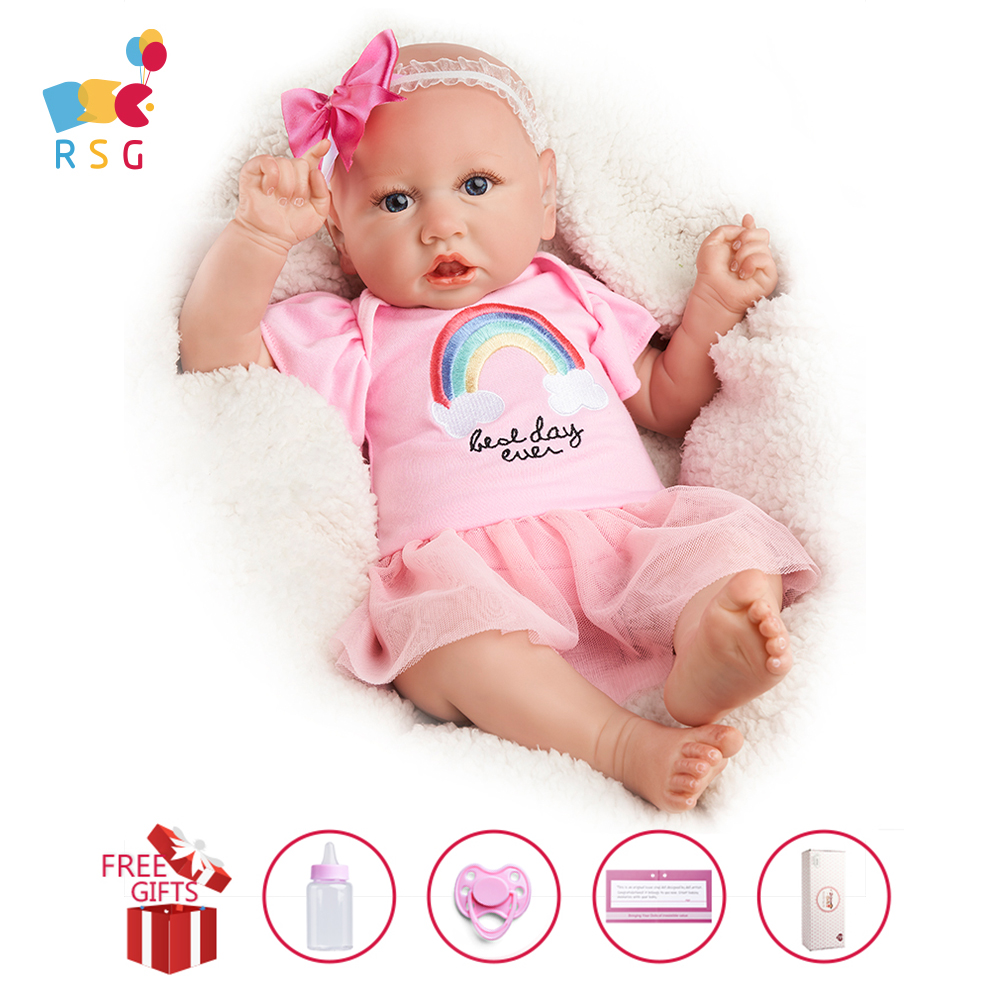 RSG Reborn Baby Doll 22 Inches Lifelike Newborn Sweet Baby Girl Weighted Vinyl Reborn Baby Doll Gift Toy for Children