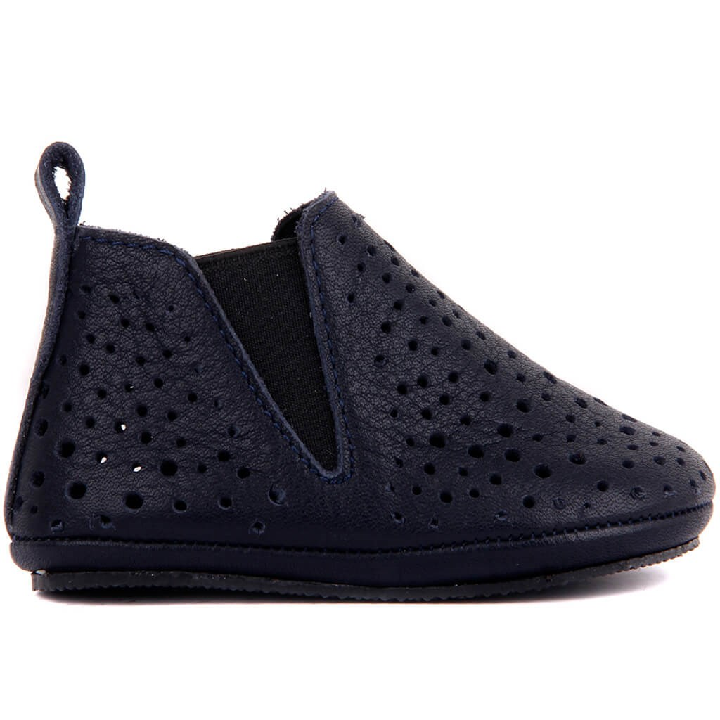 Sail Lakers-Navy Blue Leather Baby Shoe