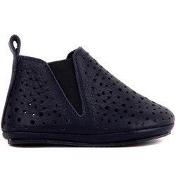 Sail Lakers-chaussure bébé en cuir bleu marine