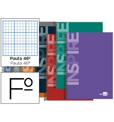 SPIRAL NOTEBOOK LEADERPAPER FOLIO INSPIRE HARDCOVER 80H 60 GRAYADO NO. 46 ASSORTED COLORS 10 Pcs