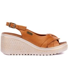 Pierre Cardin Tan Leather Women Sandals Summer Comfortable Causal Shoes Woman Peep Toe Wedges Shoes Bottom Fashion Mother Ladies Sandals Sandalias Mujer Size 36 40 2019 New