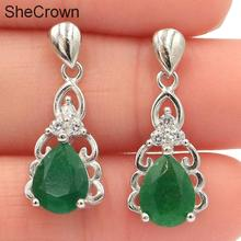 24x10mm SheCrown Pretty Drop Shape Real Green Emerald White CZ Gift For Girls Silver Earrings