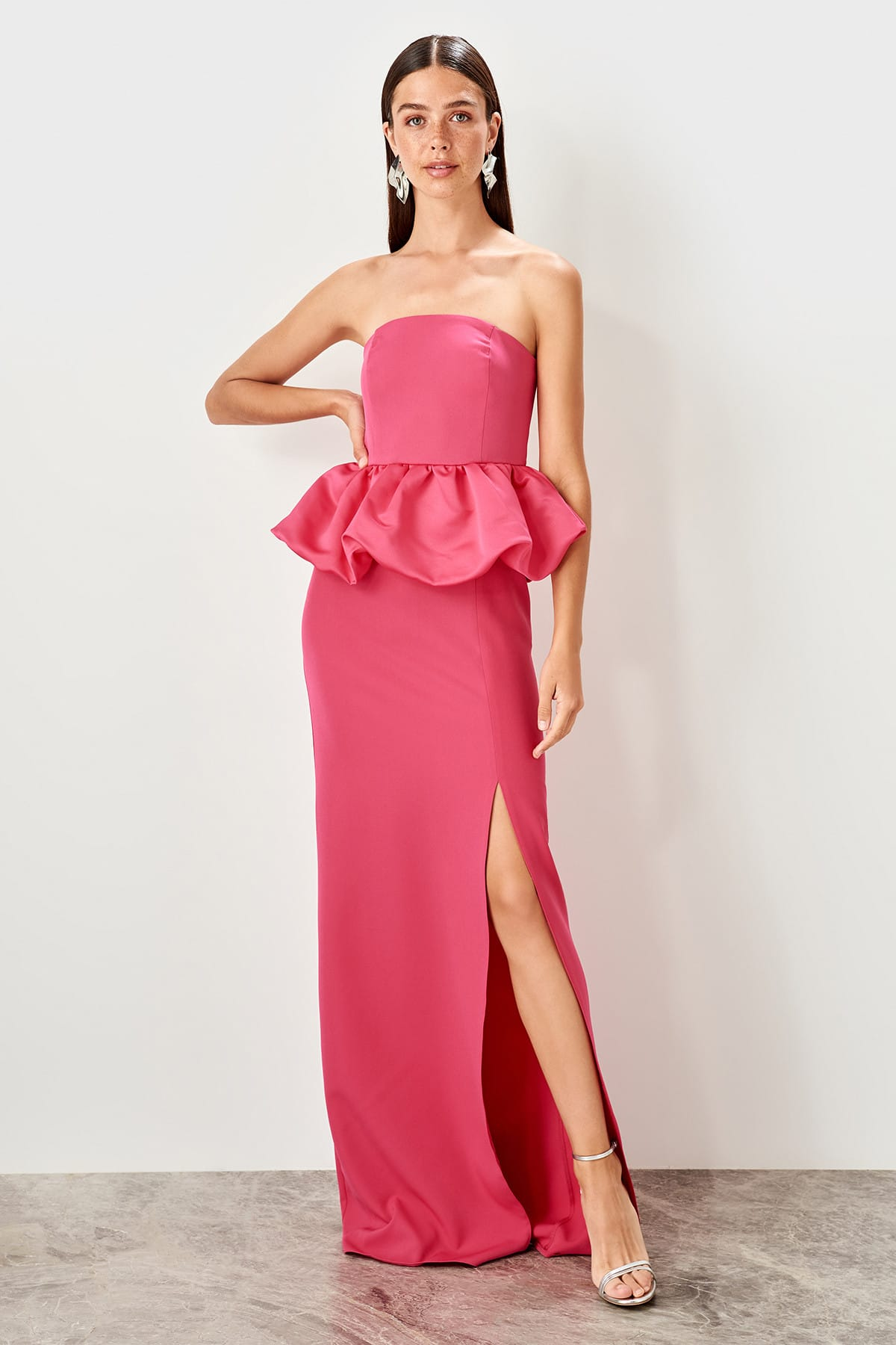 Trendyol Peplum Detail Evening Dress TPRSS19UT0198
