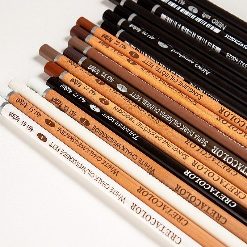 Austria CRETACOLOR Imported Sketch Pencil Charcoal Soft Black Brighten White Highlight Darken Pencils