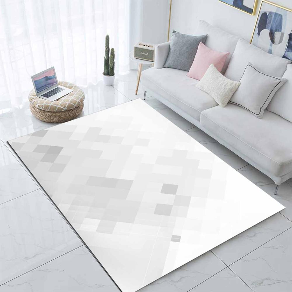 Else Gray White Abstract Cubes Nordec  3d Print Non Slip Microfiber Living Room Modern Carpet Washable Area Rug Mat