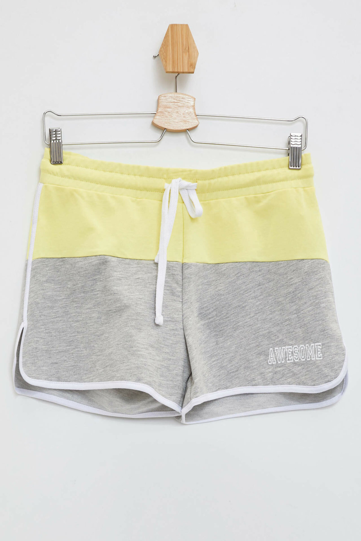DeFacto Woman Summer Casual Short Women Lace-up Short Bottoms Female Mixed Color Grey Yellow Shorts-M2632AZ19HS