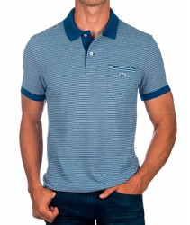 LACOSTE POLO STRIPES WITH POCKET poloshirts fashion short sleeve color blue for men BRand Crocodile