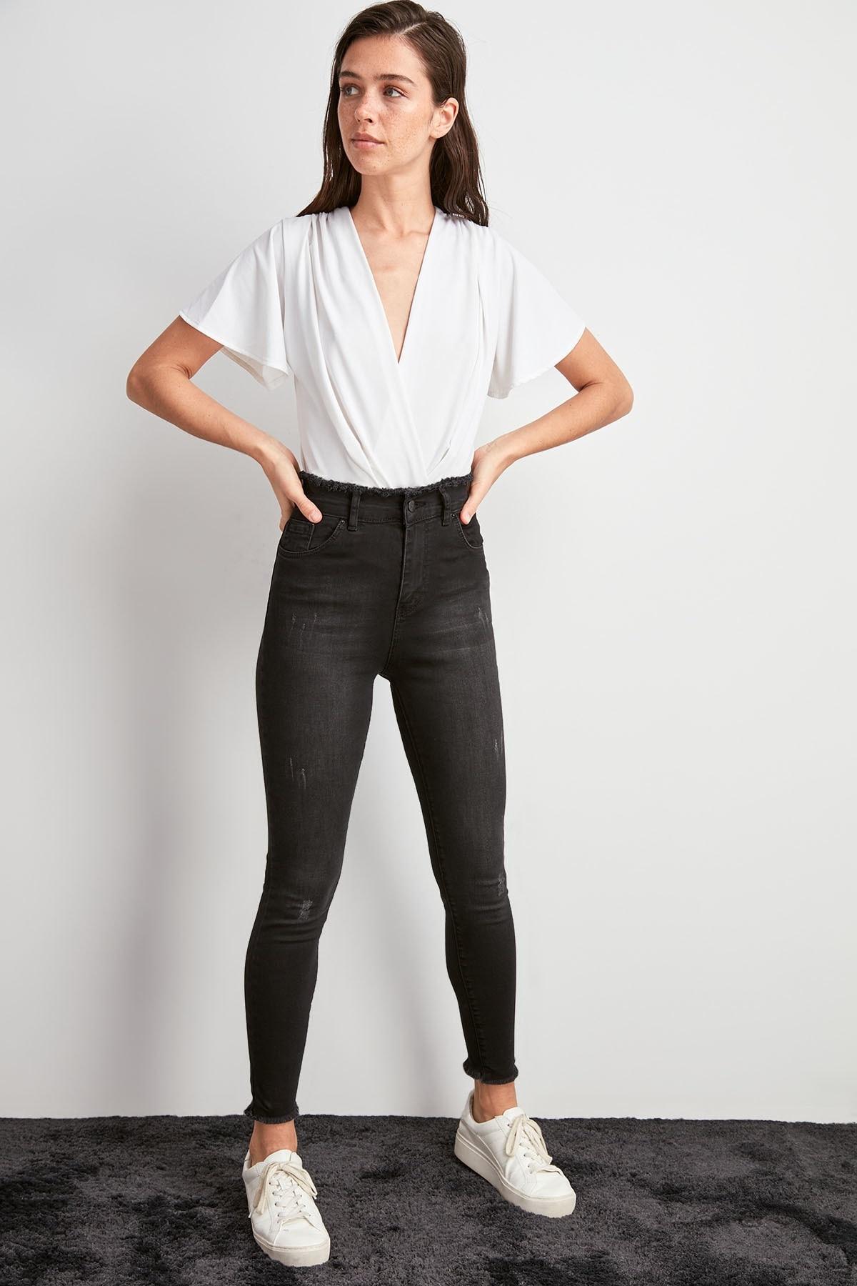 Trendyol Beli Tassels High Waist Skinny Jeans TWOAW20JE0486