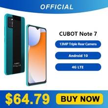 Cubot Note 7 Smartphone potrójny kamera13mp 4G LTE 5.5 Cal ekran 3100mAh Android 10 podwójna karta SIM odblokowanie twarzą telefonu komórkowego 2GB+16GB