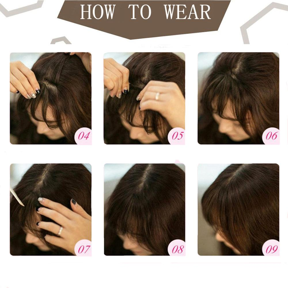 Image 3 - Moresoo Air Front Fringe Clip in Hair Extensions One Piece Machine Remy Straight Human Hair Accessories Without Hair TemplesBangs   -