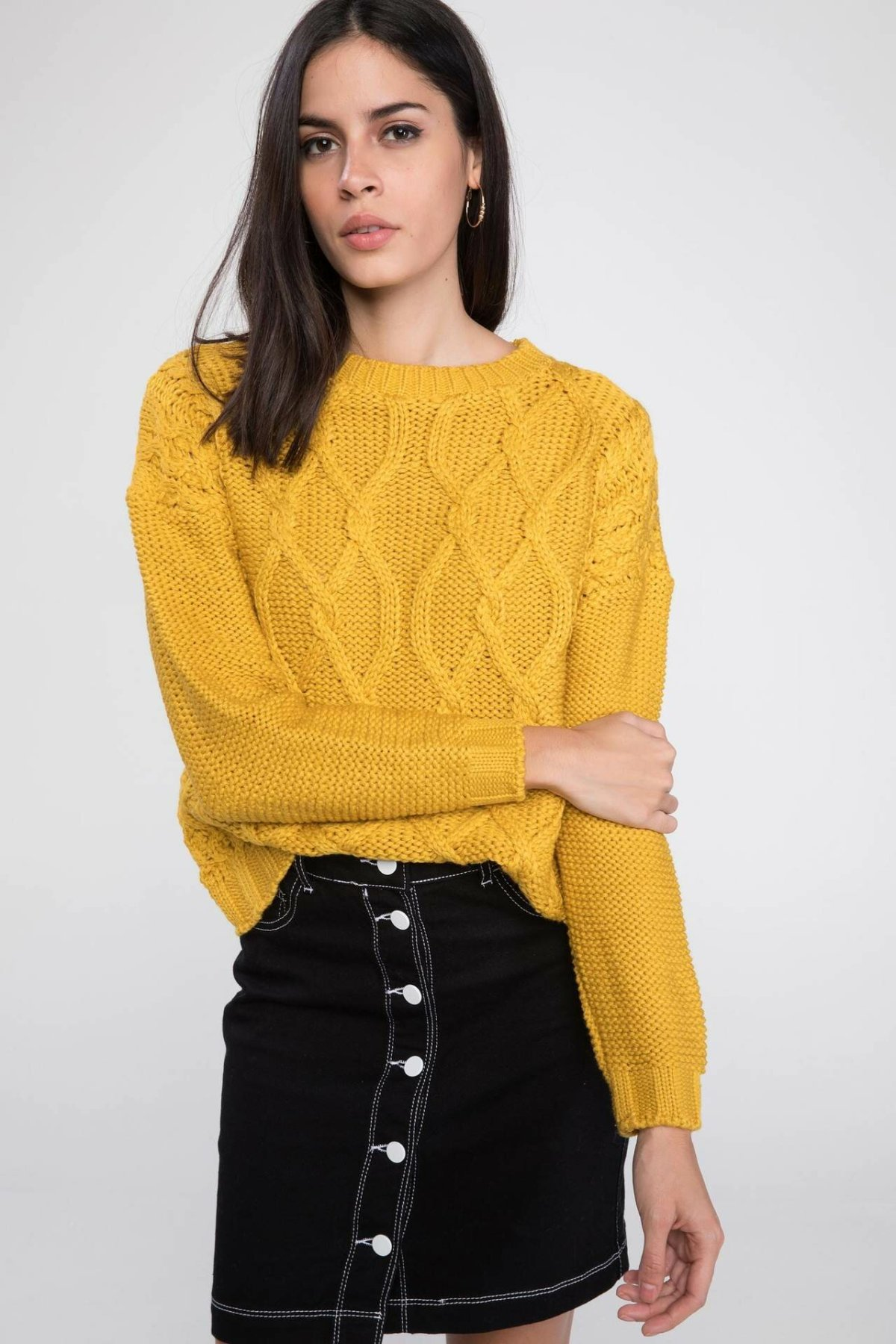 DeFacto Women Simple Fashion Crewneck Solid Knitted Casual Simple Pullovers Sweatshirt Autumn New - J2182AZ18AU