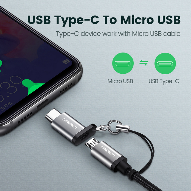 Ugreen USB Type C OTG Adapter Micro USB to USB C Cable Converters for Macbook Pro Samsung S10 Plus Quick Charge USB C OTG Cable