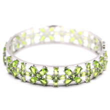 74x14mm Luxury 27.6g Created Green Peridot Gift For Woman's Silver Bangle Bracelet 7.5
