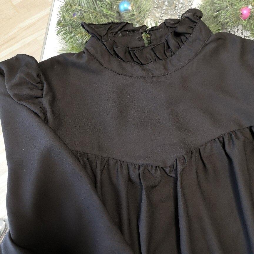 Hot 2019 autumn new fashion women's temperament commuter puff sleeve small high collar natural A word knee Chiffon dress reviews №6 342796
