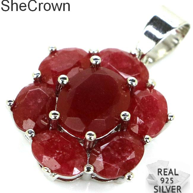 27x17mm Romantic SheCrown Real Red Ruby Gift For Ladies Silver Pendant