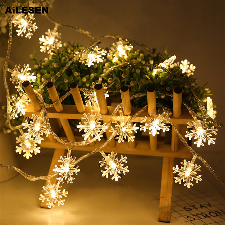 AiLESEN Christmas 5cm Big Snowflakes String Lights Garlands Fairy Lights For Christmas Tree New Year Room Valentine's Day