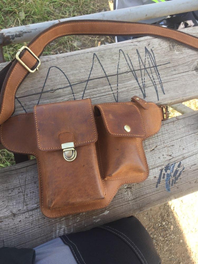Men'S Crazy Horse Genuine Leather Messenger Shoulder Bag Travel Motorcycle Riding Fanny Pack Waist Thigh Drop Leg Bag 2068 photo review
