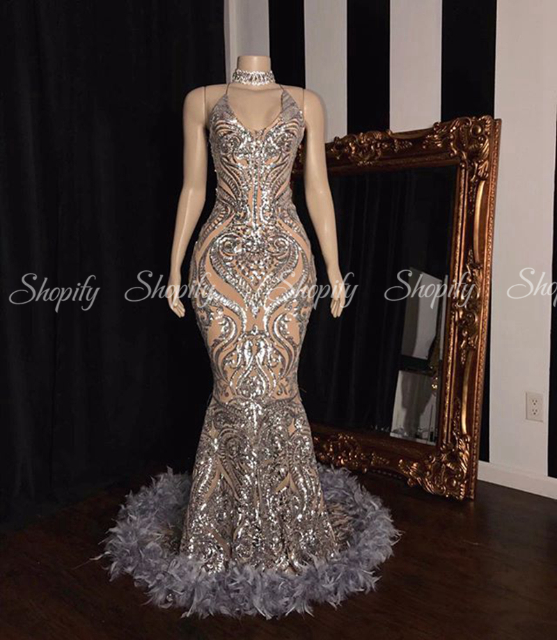 Long Prom Dresses 2020 Glittery Mermaid Sparkly Silver Sequin Black Girl African Feather Prom Dress