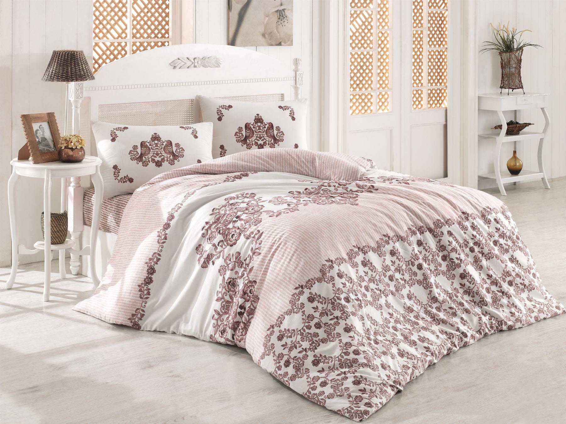 Lady Fashion Hüma Coffee Double Personality Terry Cotton Duvet Cover Set