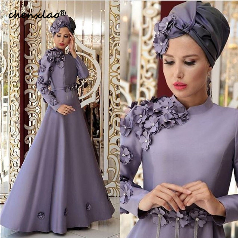 Muslim Style Evening Dress High Collar Full Sleeves 3D Flower Satin A Line Long Evening Dresses Formal Party Gowns robe de soire