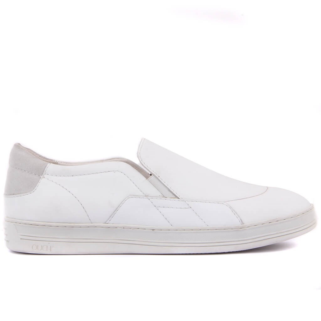 Sail-Lakers White Leather Step-in Men Casual Shoes