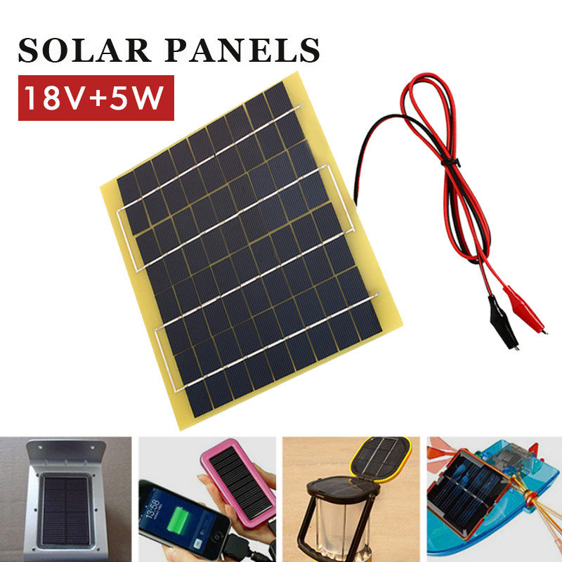 <font><b>5W</b></font> 18V Polycrystalline Silicon <font><b>Solar</b></font> <font><b>Panel</b></font> Alligator Clips for <font><b>12V</b></font> Storage Battery Phone Charger Travel Durable Portable image