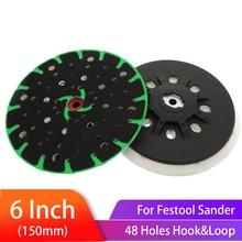 6 Inch(150mm) 48-Hole Dust-Free Hard Back-up Sanding Pad Soft Grinding for Hook&Loop Discs  Festool Sander