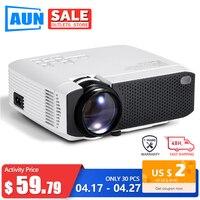 AUN 2020 nowy Mini projektor D50s przenośne kino domowe do 1080P projektor LED 2900 lumenów | HD w 3D wideo sypialnia gry Beamer w Projektory LCD od Elektronika użytkowa na