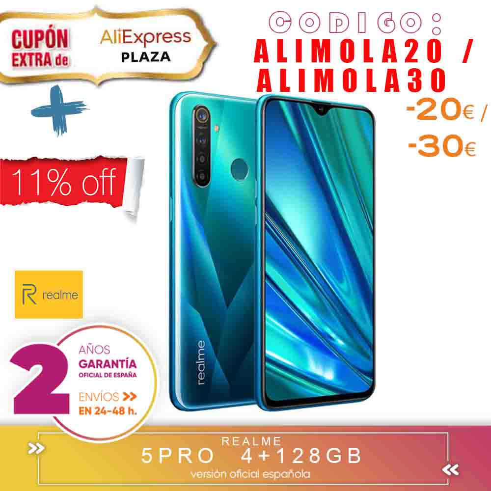 [Official Spanish Version Warranty] Realme 5 Pro Smartphone mobile tags, 6.3 ''4 hard gb 128 gb ROM Snapdragon octa core, Quad Camara image