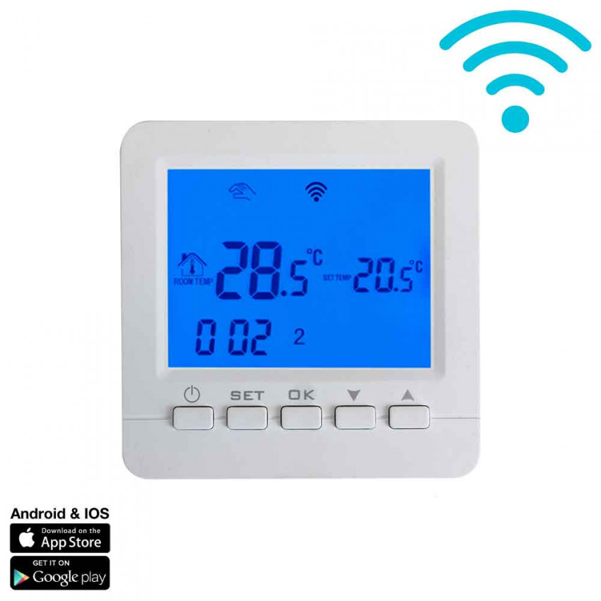 WiFi Thermostat For Heating Or Air Conditioning Via Smartphone/APP