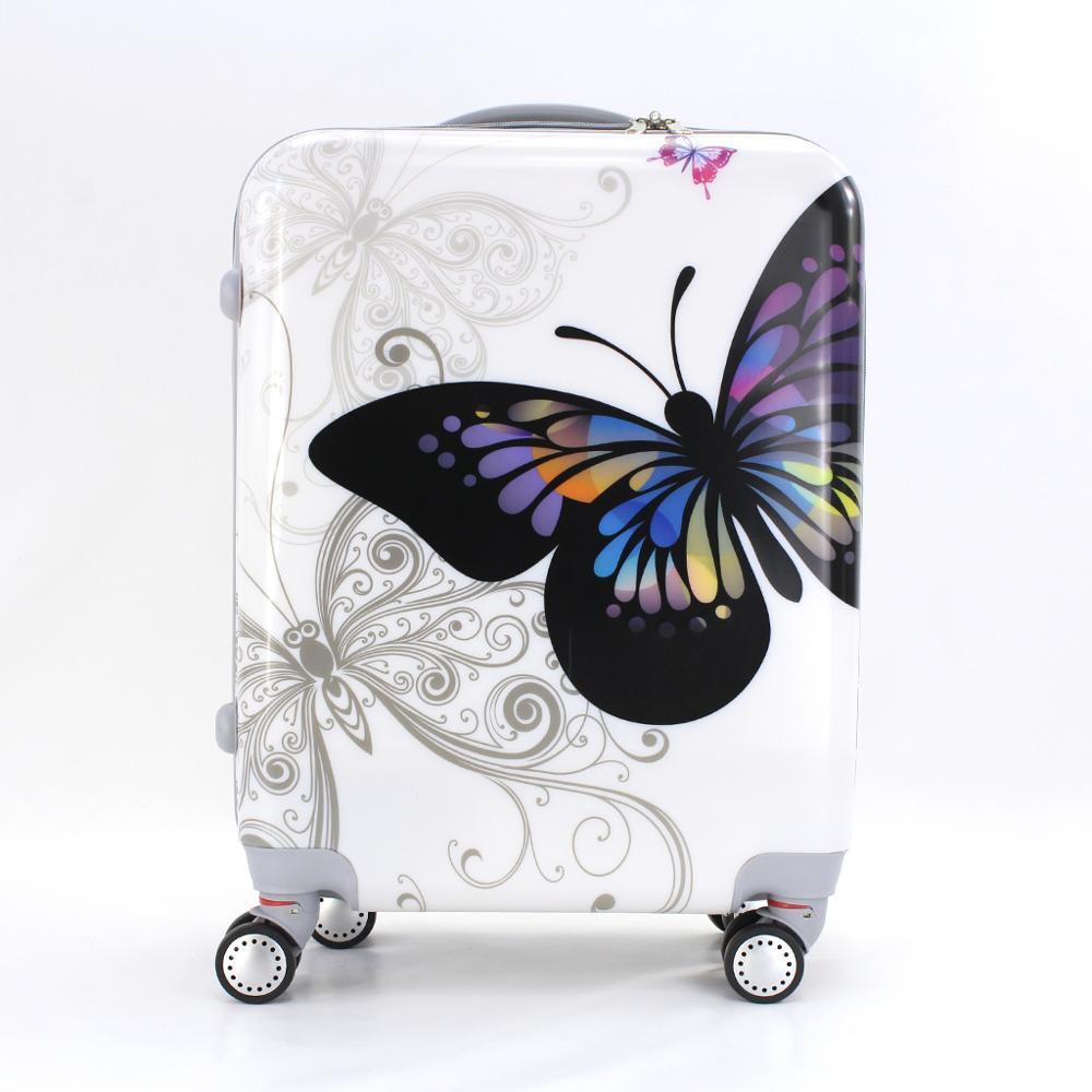 Valise cabine estampillée papillons 55cm rigide avec sac cosmétique - 3