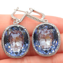 SheCrown Big Oval 22x18mm 17.5g Fire Rainbow Violet Mystic Topaz CZ Ladies Silver Earrings 40x20mm