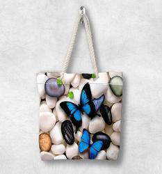 Else Белая Галька Камни на синей бабочке новая мода белая веревка ручка Холщовая Сумка Хлопок Холст на молнии сумка на плечо