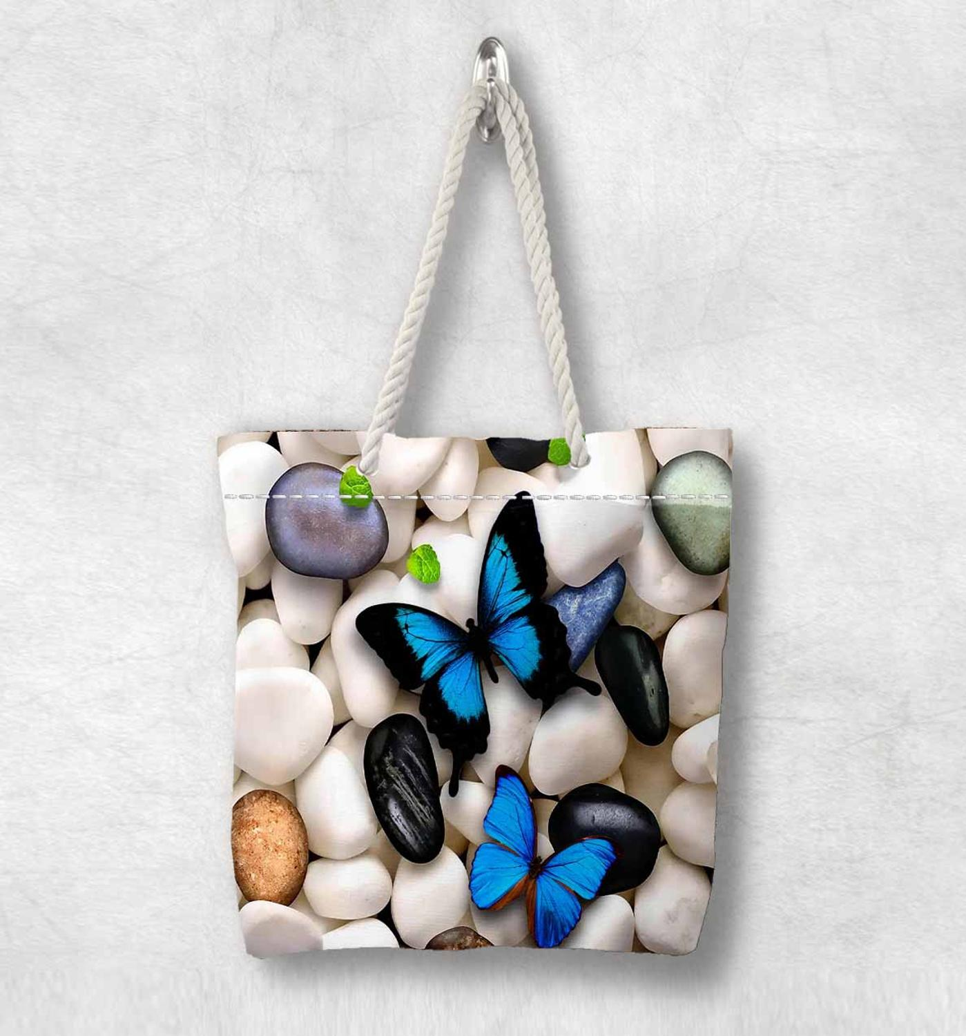 Else White Pebble Stones On Blue Butterfly New Fashion White Rope Handle Canvas Bag Cotton Canvas Zippered Tote Bag Shoulder Bag